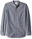 Marca Amazon – Goodthreads – Camisa de manga larga de cambray con cuello en banda de corte estándar para hombre, Azul (Navy Nav), US S (EU S)