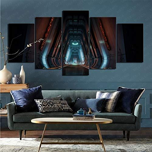 Lienzo póster de Pared 5 Piezas Videojuego Doom (2016) Arte Enmarcado Pintor Aficionado del Artista 50x100cm (sin Marco)