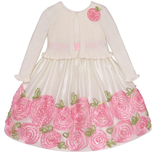 Traumhaftes, qualitatives Baby 3D Petticoat-Kleid + Strick-Bolero~festlich~Taufkleid Gr. 56,62,68,74,80,86 (74)