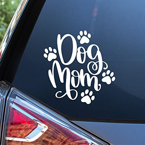 Sunset Graphics & Decals Dog Mom Decal Vinyl Car Sticker | Cars Trucks Vans Walls Laptop | White | 5.5 x 5.5 inches | SGD000004
