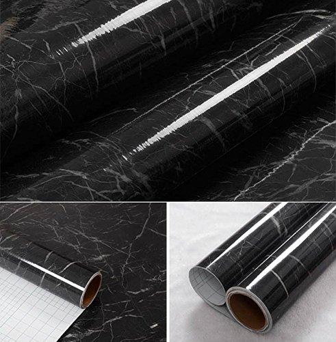 WDragon Klebefolie, Abziehtapete, Muster: schwarz-grauer Marmor, selbstklebend, glänzend, Vinyl, für die Küchentheke, Wandaufkleber - 61 x 200 cm, Vinyl plastik, 24in X 79in