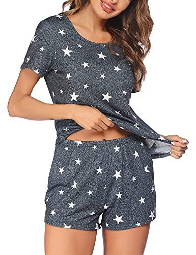 Ekouaer Schlafanzug Damen Kurz Pyjamas Set Sommer Pyjama Kurzarm Star Sleepshirt Pyjamahose Zweiteilige Nachtwäsche mit Tasche, Kurz-Dunkelgrau weißer Stern, M