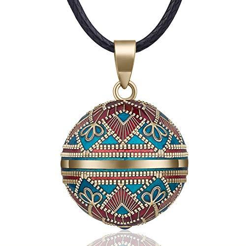 Halskette mit Klangkugel im Vintage-Stil, für Frauen, Modeschmuck, Geschenk, mexikanische Schwangerschaftskugel, 45 Kette, 3 Stile 3