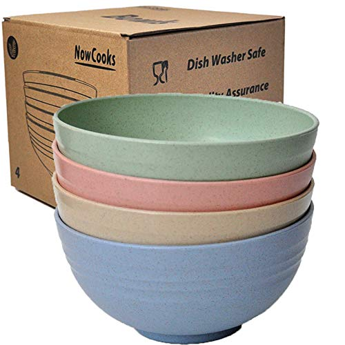 Unbreakable Large Cereal Bowls 24oz Wheat Straw Degradable Bowl Set 4-...