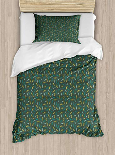 Scott397House Botanical Single Bedding Duvet Cover 2 Piece, Continuous Leafy Branches Pattern, Soft Bedding Protects Set with 1 Comforter Cover 1 Pillowcase, Single Size, Reseda Green Mustard