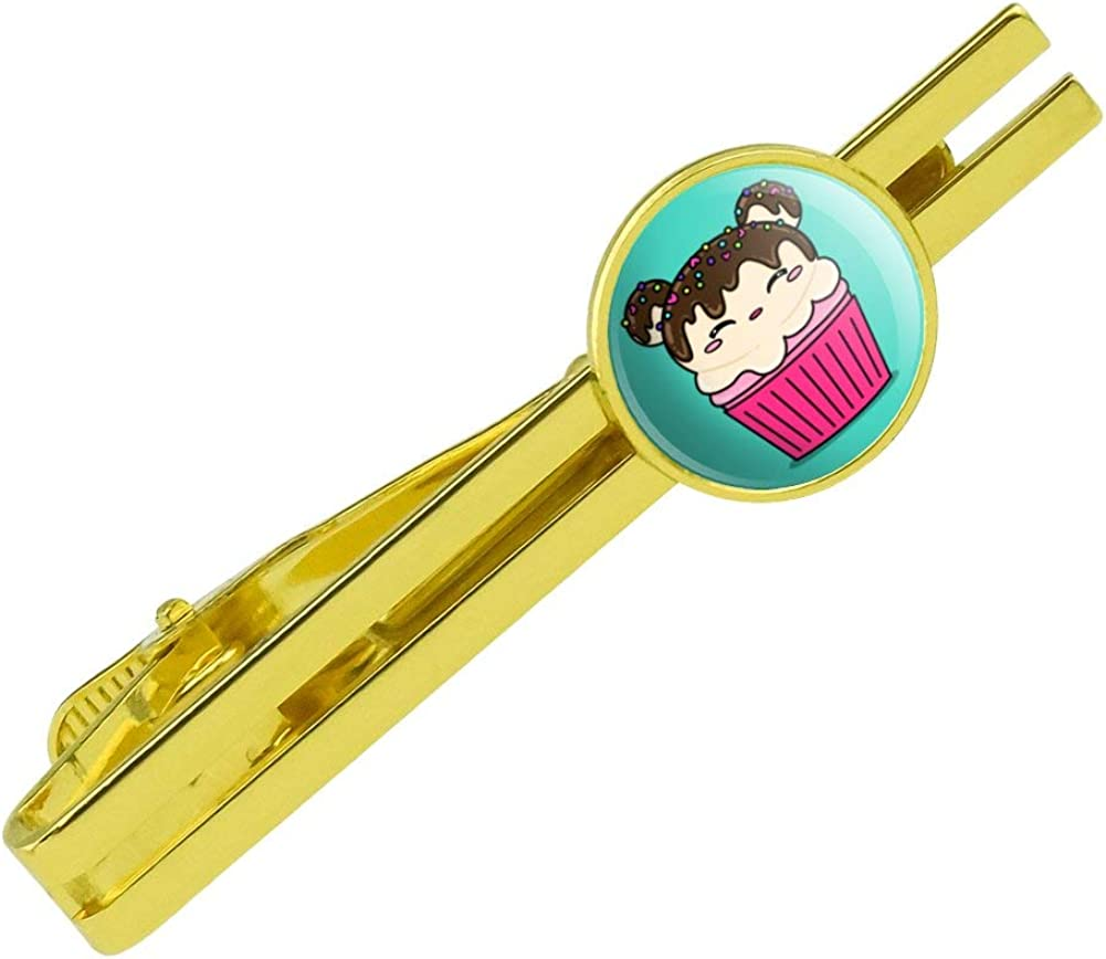 GRAPHICS & MORE Cute Mouse Bear Ice Cream Cupcake with Sprinkles Round Tie Bar Clip Clasp Tack Gold Color Plated