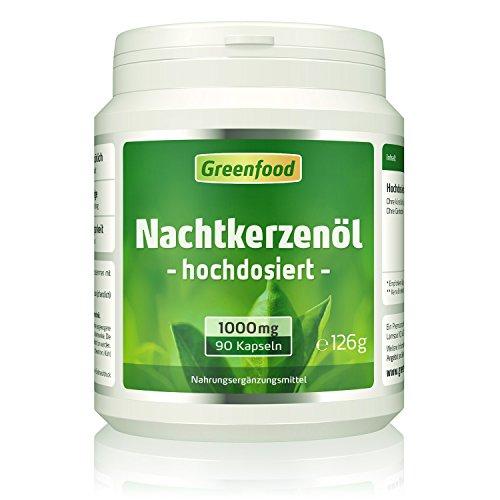 Greenfood Nachtkerzenöl, 1000 mg, hochdosiert, 90 Softgel-Kapseln – reich an Omega- und Omega 6 und natürlichem Vitamin E. OHNE künstliche Zusätze. Ohne Gentechnik.