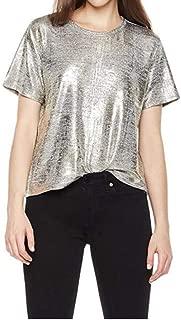 Women's Glitter Metallic T-Shirt Short Sleeve Top Tee Casual Party Clubwear Tops