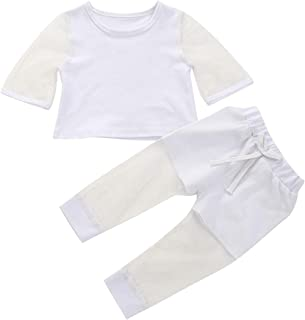 Camidy 2pcs Kids Girl Suit Mesh Fabric Long Sleeve Shirt + Pants Summer Outfits 1-5Y