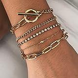 Edary Boho Crystal Bracelet Set Bracelets de perles d'or cra