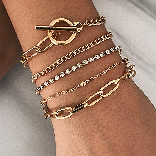 Edary Boho-Kristall-Armband-Set, goldfarbene Perlen-Armbänder, Handschmuck, handgefertigt, für Damen und Mädchen (4 Stück)