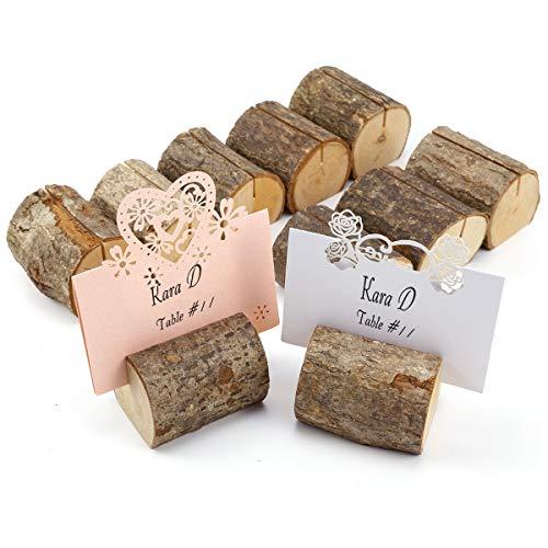 ToPicks 20 Stück Tischkartenhalter Holz, Fotohalter Platzkartenhalter Tischkartenhalter Rustikale für Hochzeit, Party, Familienessen (quer(20 Stück))