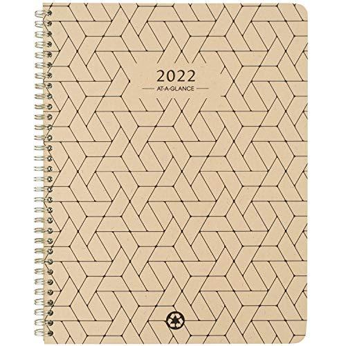 Agenda semanal e mensal 2022 da AT-A-GLANCE, 21,5 cm x 28 cm, grande, formato dividido, elevação ecológica, trigo (75950R11)