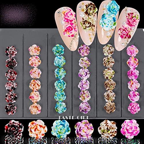 36/60pcs Pack 3D Beautiful Dyeing Rose Macaroon Flowers Arylic Nail Art Rhinestone Gems Decorations Manicure DIY Tips-GZH25
