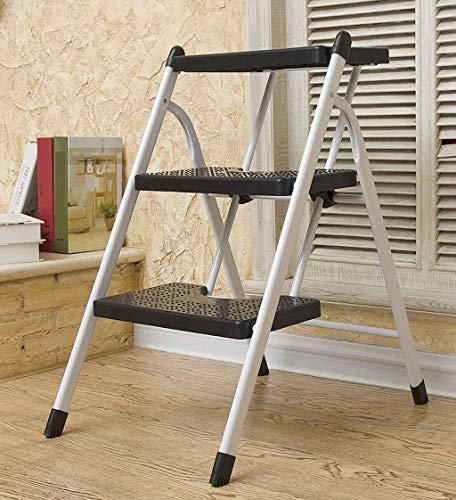 DNSJB - Taburete de escalera portátil para el hogar, plegable y engrosada, escalera de espiga, escalera móvil para escalar, escalera de tres pasos (color: negro 3 capas)