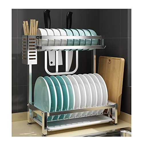 & Opbergkast, keukenrek, roestvrijstalen afdruipvlak bord, kop, bestek, afdruipvlak, multifunctionele legplank, 2-laags afwerkrek Medium