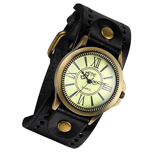 Lancardo Reloj Electrónico Retro con Dial de Números Romanos Pulsera Analógica de Movimiento Cuarzo Correa Ancha de Cuero Casual para Viaje Negocio para Hombre Mujer Unisex (Negro)