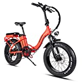 Rattan 750W 20'' Folding Electric Bikes for Adults,Ebikes with 4.0 Fat Tires 48V/13AH Removable Lithium Battery,7 Speed Brushless Motor.Intelligent Design with Display and LED Light. (Red)