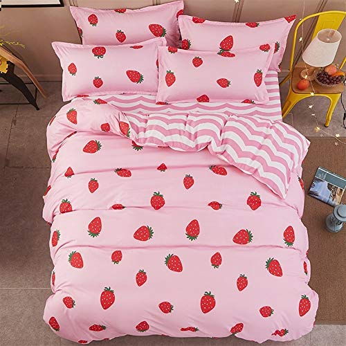 ZMK-720 Bedding Bed Sheets Home Textile Pink Bedding Set For Girl Kid Teen Bedlinen Strawberry Duvet Quilt Cover Pillowcase Stripe Bed Sheet 4Pc (Color : 1, Size : 200 X 230 cm)