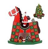 Calendario dell' Avvento Feltro Albero di Natale Equitazione di Babbo Natale Conto alla Rovescia Riempibile Paesaggio Natalizio 24 Piccoli Regali in Legno Bambini Decorazione