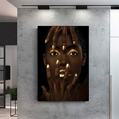 wZUN Arte Africano Retrato de Mujer Pintura al óleo sobre Lienzo Carteles e Impresiones murales nórdicos Pintura para decoración de Sala de Estar 60x90 Sin Marco