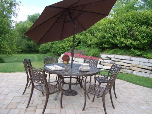 Oakland Living Mississippi Cast Aluminum 60-Inch Table with 6 Chairs, 7-Piece Dining Set with 9-Feet Tilting Umbrella and Stand