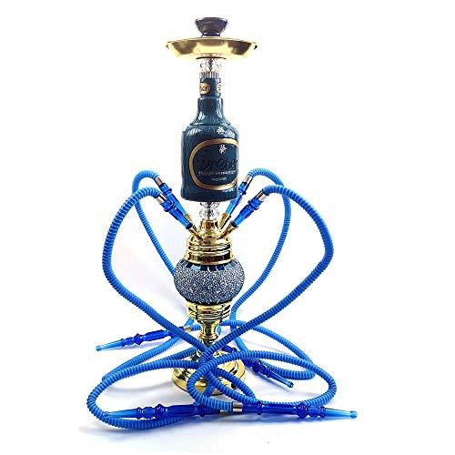 JYXZM Shisha Hookah Party Fuman con un tazón de cachimba de Arcilla de 4 Manguera y Luces de Doble led Superior e Inferior (Color : Blue)