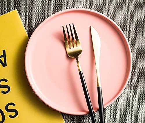 Vajilla Plato de cena occidental Plato de carne Plato de cena para el hogar Plato blanco Plato de ensalada de fideos Plato de 10 pulgadas PlatoRosa
