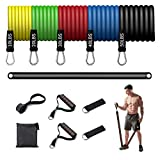 KFK Trainer Resistance Band Bar Set Kit Core System Portable Home Gym Resistance Band and Bar Full Body Workout Bar Fitness Exercise Bands Build Muscle Strength Exercise