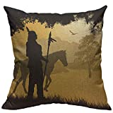 VERSUSWOLF Throw Pillow Covers Red Chief Native American Indian Silhouette Spear Horse On Beautiful Sunset Black Man Cotton Linen Decorative Square Pillowcases Cushion Cover 18 X 18 Inch