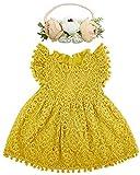 BGFKS Baby Girl Tutu Dress Elegant Lace Pom Pom Flutter Sleeve with Flower Headband Set(Mustard Yellow,3T)