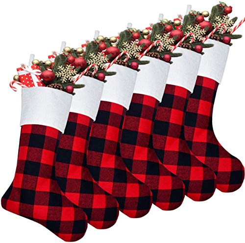 Senneny 6 Pack Christmas Stockings- 18 Inch Red Black Buffalo Plaid Christmas Stockings Fireplace Hanging Stockings for Family Christmas Decoration Holiday Season Party Decor
