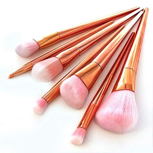 HZD 8Pcs Rose Gold Mmermaid Makeup Brushes Set Foundation Powder Contour Eyeshadow Make Up Brush Beauty,7PCS