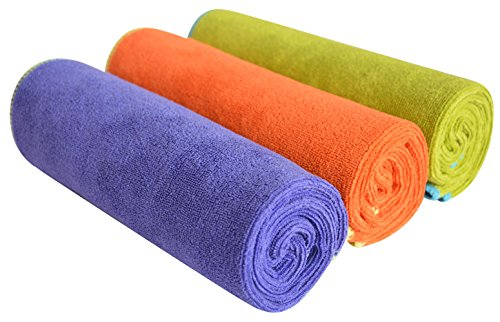 SINLAND Microfiber Gym Towels Fast Drying Sports Fitness Workout Sweat Towel 3 Pack 16 Inch X 32 Inch