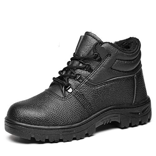 Botas de seguridad con puntera de acero con forro de piel cálido,zapatos de seguridad de felpa,zapatillas de invierno de ajuste ancho,calzado a prueba de pinchazos y tobillo antideslizante,talla 35-46