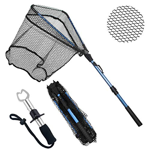 ZHENDUO OUTDOOR Fishing Net Fishing Landing Net Collapsible Telescopic Fishing Nets for Safe Fish Catching or Releasing with Fish Gripper Fishing Gear Tool Set