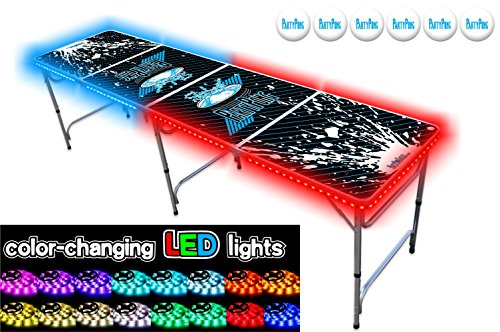 Best Review Of PartyPongTables.com 8-Foot Beer Pong Table with LED Glow Lights - Splash Edition