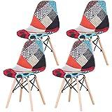 GrandCA HOME Pack de 4 sillas Sillas de Retazos Multicolores en Tela de Lino Sillas de Sala de Estar de Ocio Sillas de Comedor con Respaldo de cojín Suave (Rojo-02)