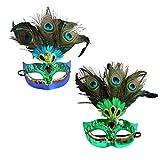 BESPORTBLE - 2 máscaras divertidas de pavo real para mujer, lentejuelas mágicas, máscara veneciana para Halloween, disfraces, fiestas, cosplay, Navidad