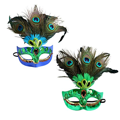 CLISPEED 2 Piezas Mujeres Máscaras de Plumas de Pavo Real Máscaras de Disfraces Divertidas Lentejuelas Mágicas Media Máscara Veneciana para Fiesta de Disfraces de Halloween Cosplay Navidad
