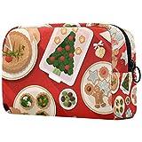 Bolsa de cosméticos para cena de Navidad para mujer, adorable bolsa de maquillaje espaciosa bolsa de viaje impermeable