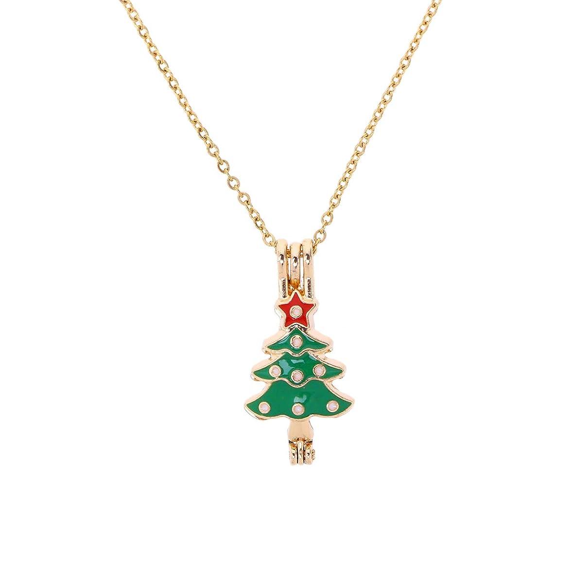 ハンカチ群がる分布Healifty 8 PCSエッセンシャルオイルディフューザーネックレスクリスマスツリーペンダントロケットジュエリー合金アロマセラピー香水ネックレス