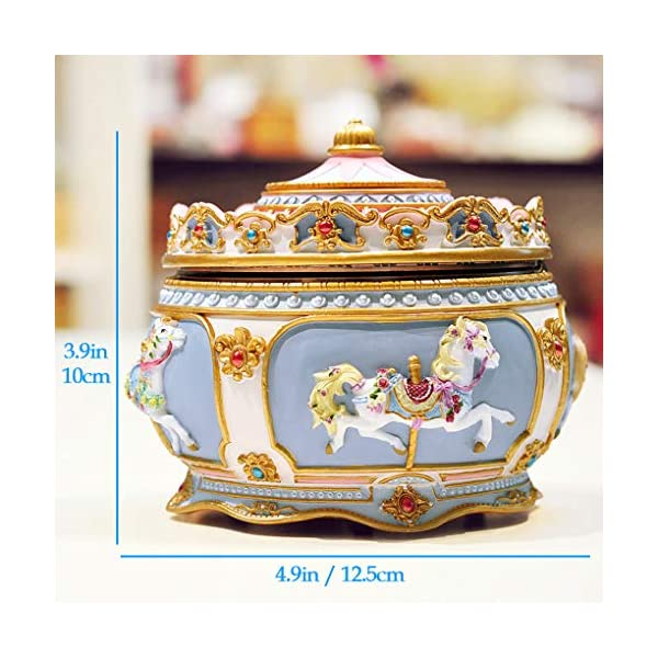 Amperer Classical Carousel Horse Music Box LED Lights Twinkling Resin Carved Collectible Mechanical Musical Box with… 4