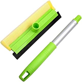 HSWJ Sponge Double-sided Window Brush Glass Scraper Wiper Glass Cleaner Aluminum Table Wiper Cleaning Tool (Color : Green)