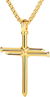 Cross Necklace, Stainless Steel/Gold Plated Christian Jewelry Church Baptism Gift Cross Pendant Necklaces for Men Women, Customize Available (Send Gift Box)