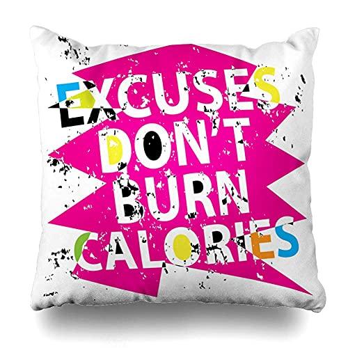 cont Throw Pillow Cover Pink Workout Graphics Slogan tee Abstract Gym Excuses Text Trend Design Home Decor Pillow Case Square Zippered Pillowcase Fundas para Almohada 16x16Inch(40cmx40cm)