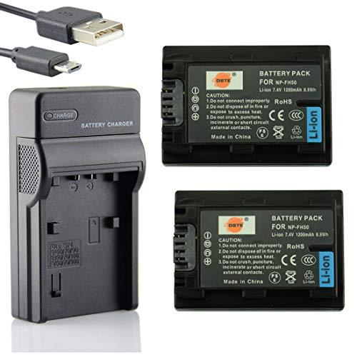 DSTE NP-FH50 Li-Ionen Batterie (2-Pack) und Micro USB Ladegerät Anzug kompatibel mit Sony DSLR-A230, DSLR-A290, DSLR-A330, DSLR-A380, DSLR-A390, DSC-HX1, DSC-HX100V, DSC-HX200V, HDR-TG5V