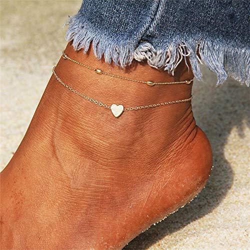 XKMY Bracelet de cheville pour femme - Couleur or et argent - Bracelet de cheville tendance sur la jambe 2021 - Bijou de pied pour l'été - Couleur 2