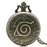 yhww orologio da tasca pocket watch naruto ninja style orologi da tasca al quarzo collana vintage per bambini uomo ragazzi ciondolo orologio con catena