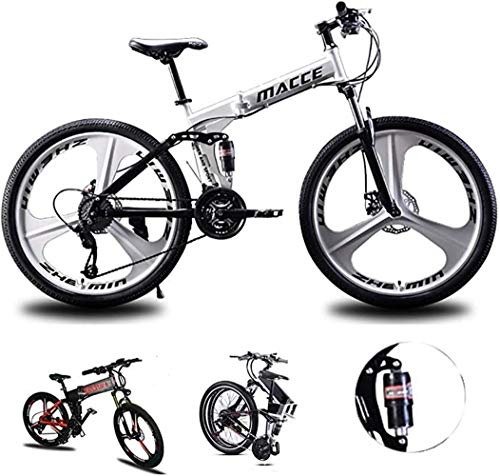 Folding Mountain Bike, 26 Inch Wheels, 21/24/27-Speed Mountain Trail Bicycle High Carbon Steel Outroad Bicycles, Bicycle Full Suspension ​​Gears Dual Disc Brakes Best Equipped for Adult Men Women